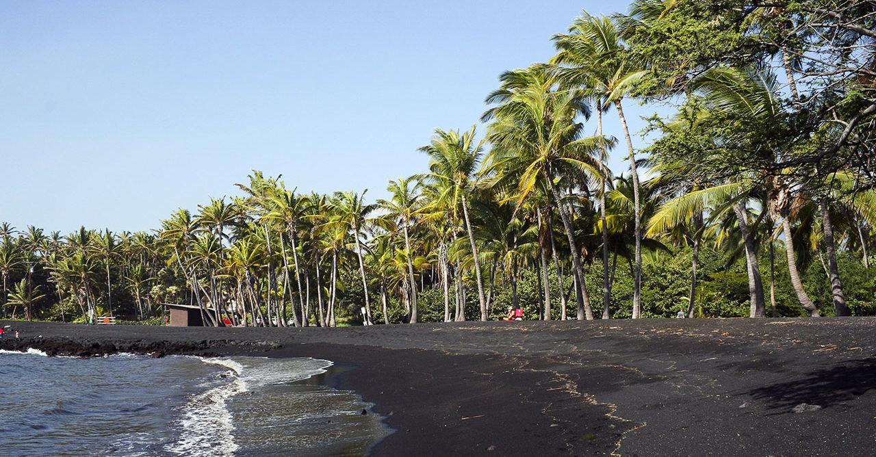La plage de Punalu'u à Hawaï